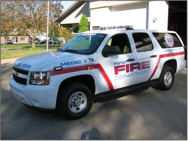 2011 Chevrolet Suburban. ALS first-response vehicle. Purchased by the City of Marion.