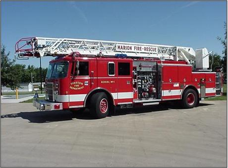 1994 Pierce  Lance. 75-ft ladder with 1000 GPM nozzle. 1500 GPM pump.	500 gallon tank. Used for city fire fighting. Purchased by the City of Marion.