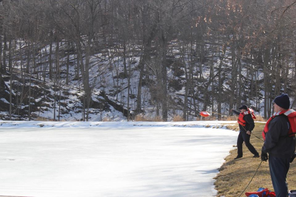 Ice Rescue Training on frozen pond
