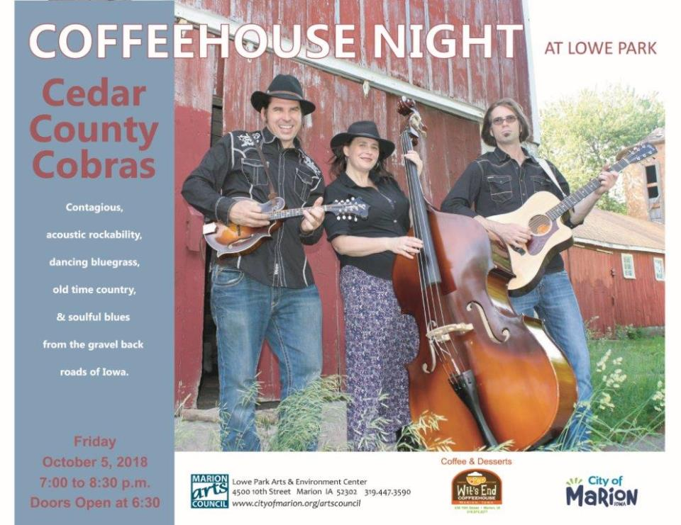 October 2018 Coffee House Night -Cedar County Cobras Poster