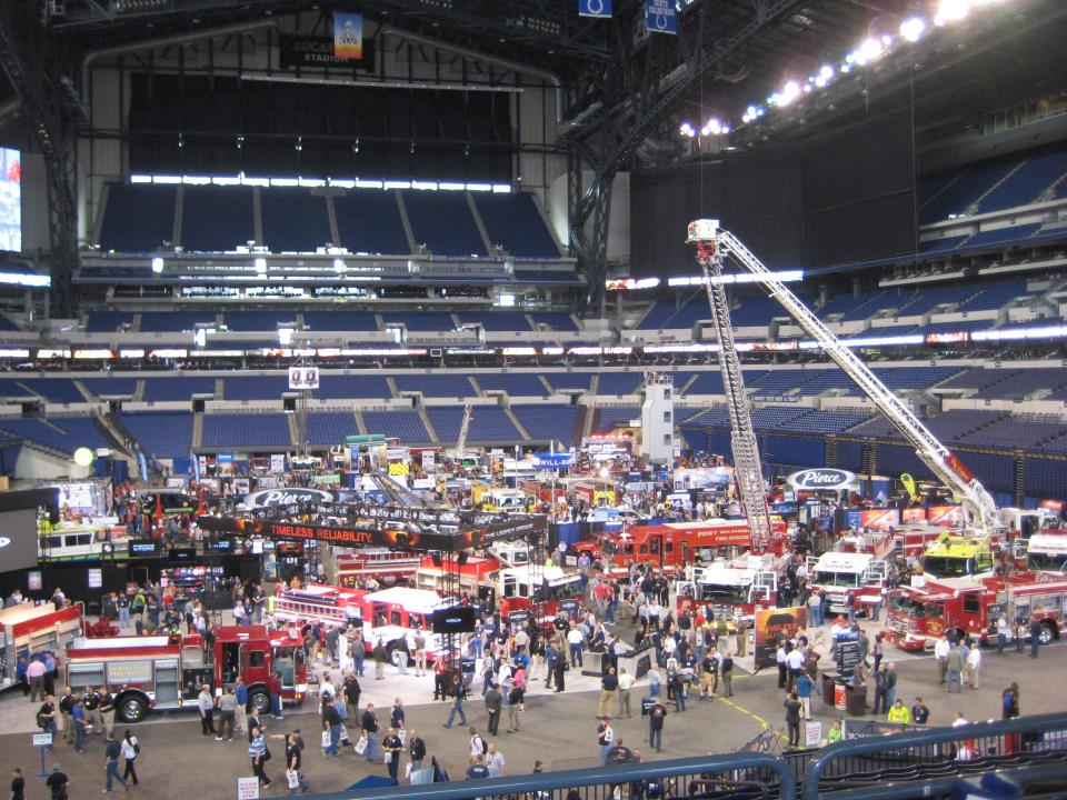 arena filled with various fire apparatus