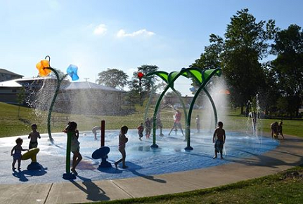 kids playing at splash pad